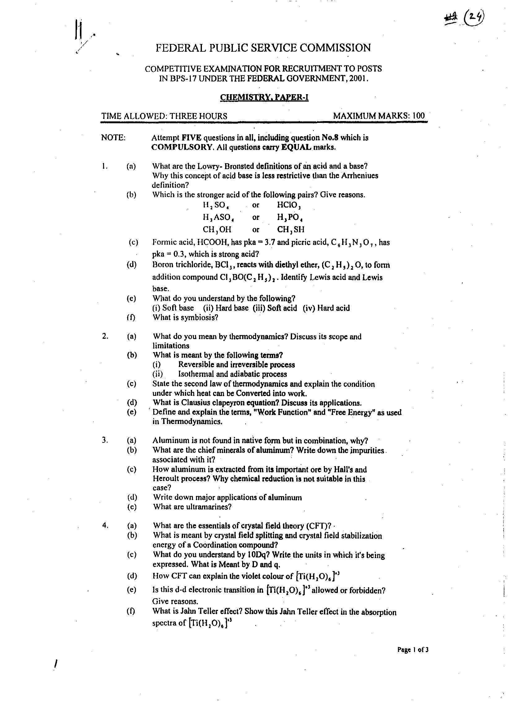 CSS – Chemistry Past Papers of Year 2001
