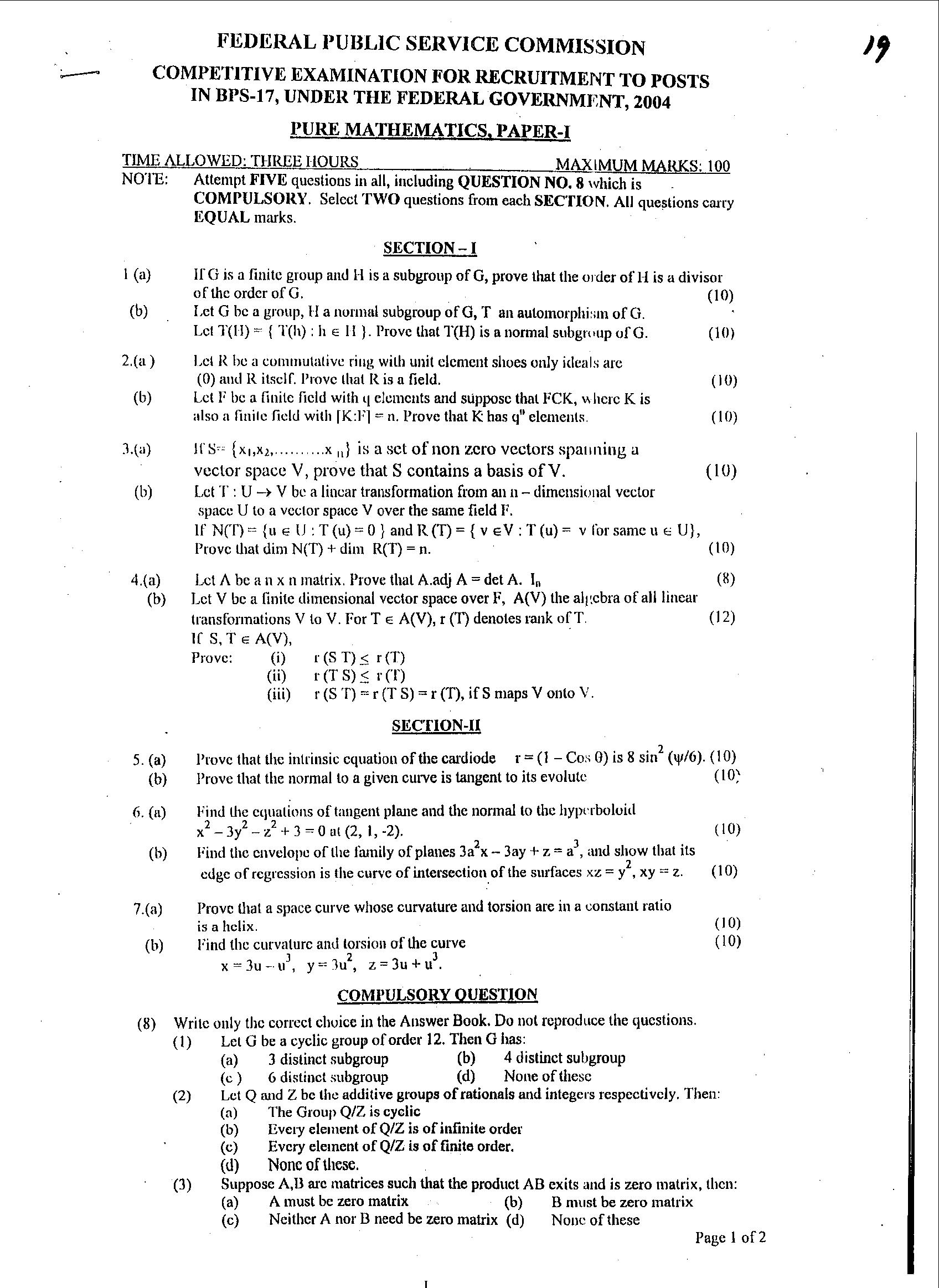 pure mathematics research papers
