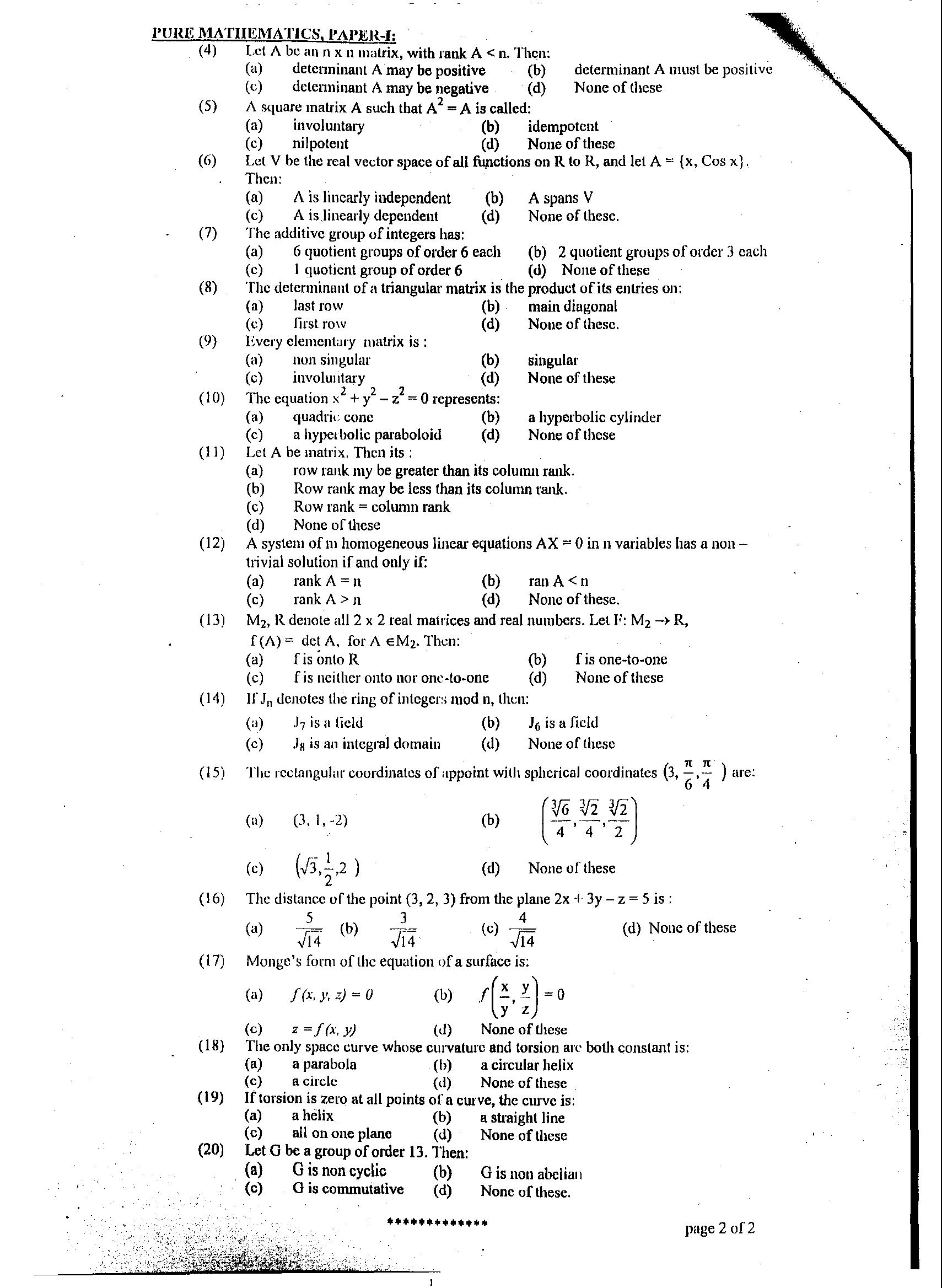 intermediate 2 maths past paper answers I have an int 2 maths exam tomorrow i was doing the sqa int2 maths exam 2011( non-calc) and i got stuck on question 10 the answers say that the answer is.