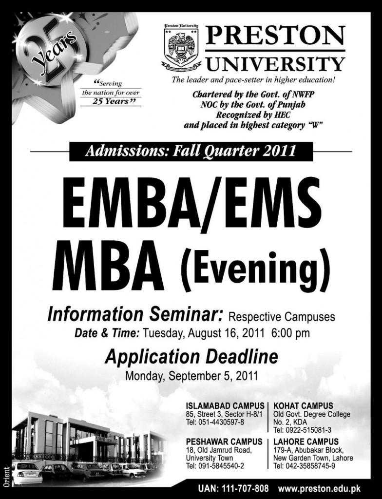 Admission in Preston University Islamabad