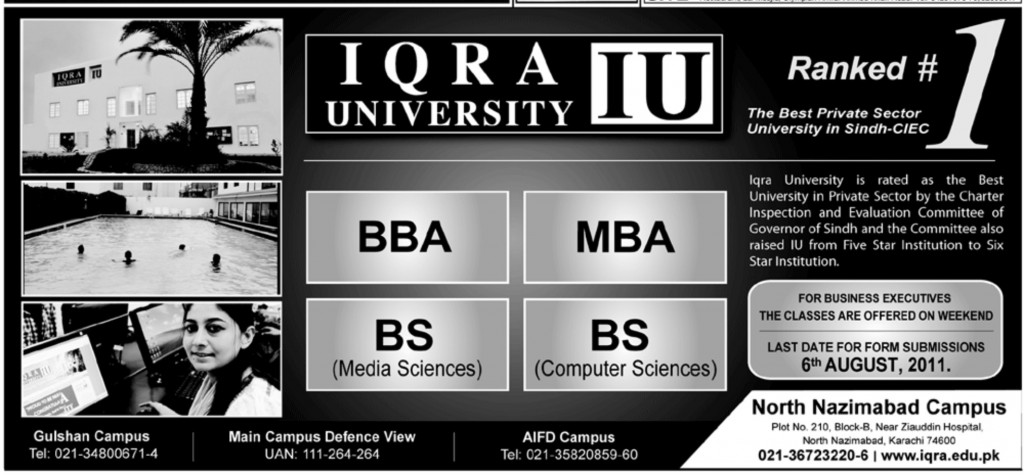 BBA, BS, MBA Admission at Iqra University Karachi