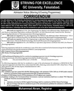BS Food & Nutrition, MSc Botany, MSc Computer Science, Ph.D Pharmacology Admissions in GCU Faisalabad