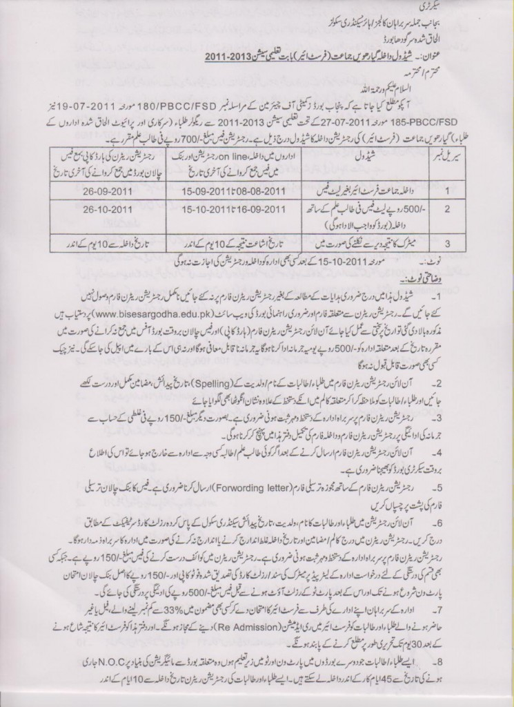 Registration Schedule for Regular Students 11th Class 2011-2013