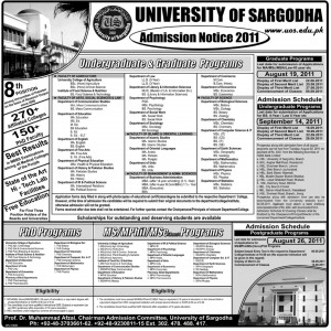 Undergraduate & Graduate Programms Admission at University of Sargodha