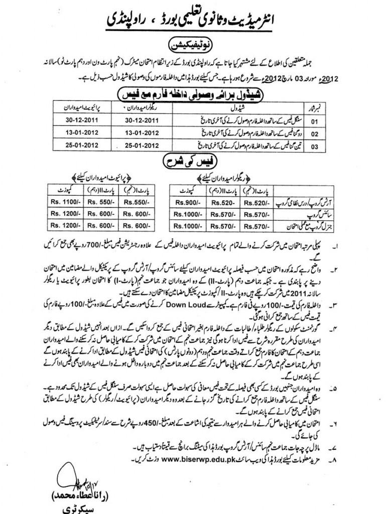 Admission Schedule Annual Exam 2012