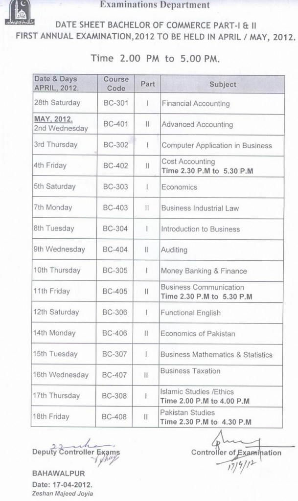 BZU Date Sheet B.Com Part 1 & 2 Annual 2012