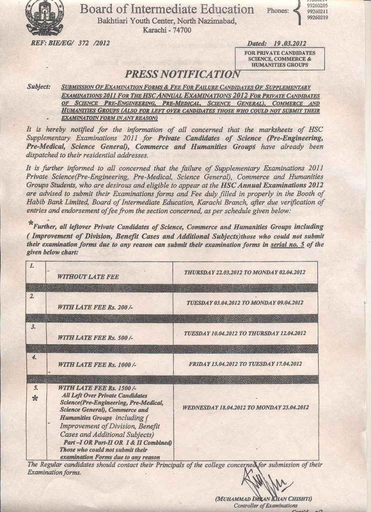 HSC Examination 2012 suply form & Fee Regular