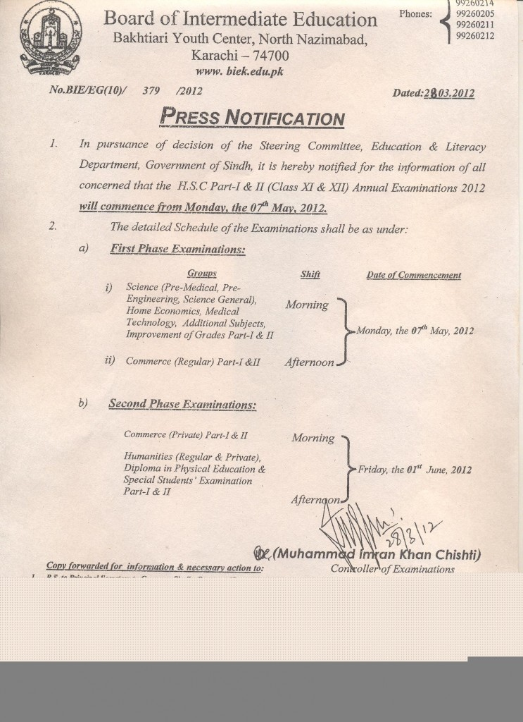 Press Notification of Examinations 2012
