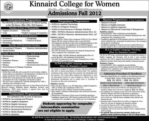 Admission in Kinnaird College for Women Fall 2012