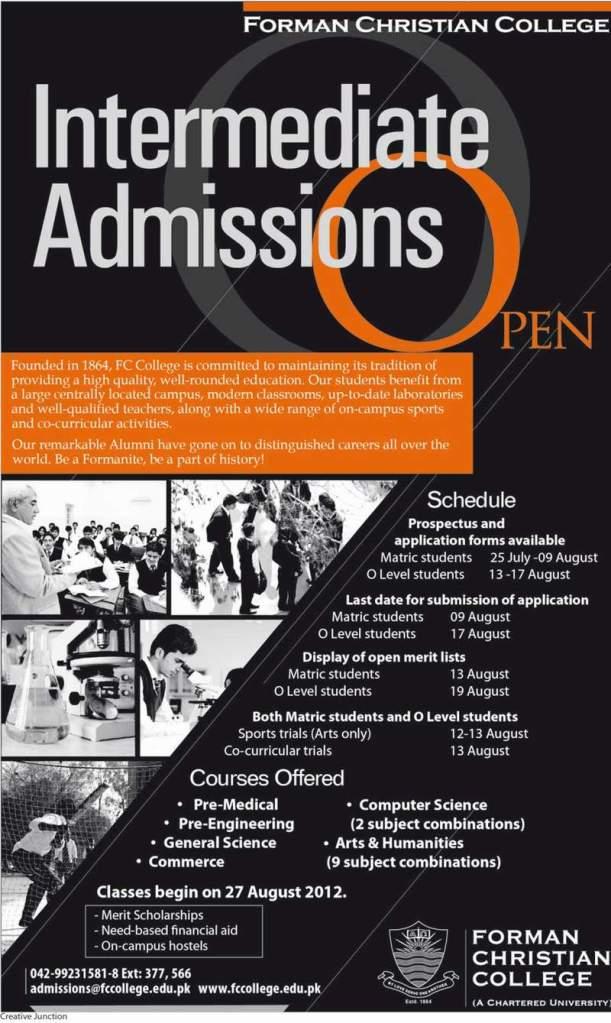 FCC Intermediate Admissions 2012