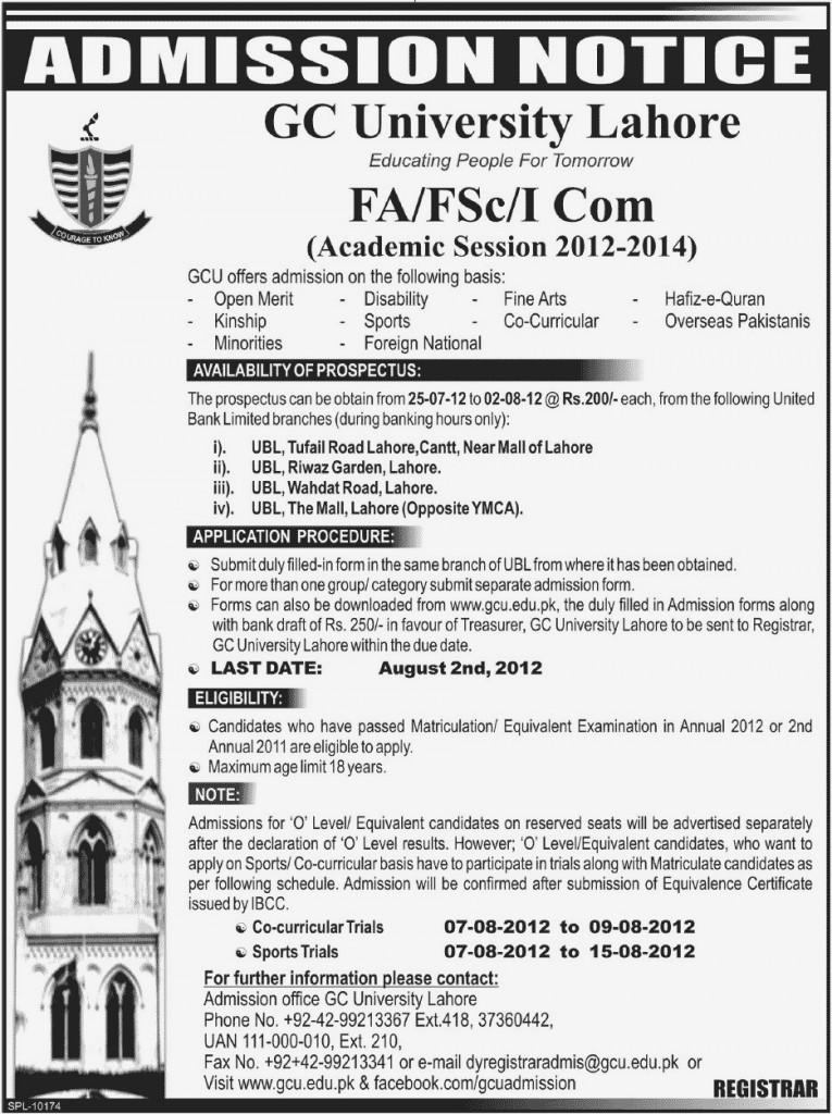 GCU Intermediate Admissions 2012