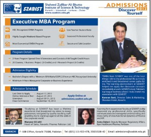SZABIST Executive MBA Admissions 2012