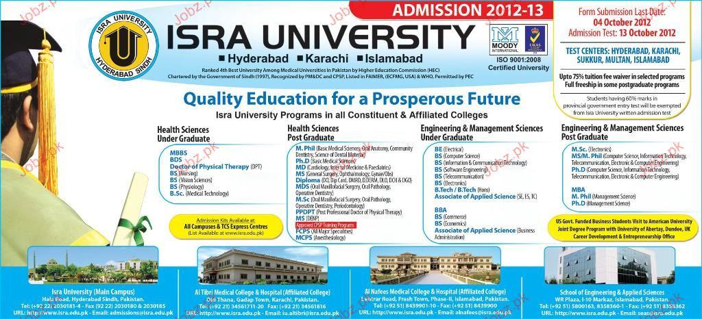 Isra University Admissions 2012
