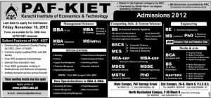 PAF KIET Announces Admissions 2013