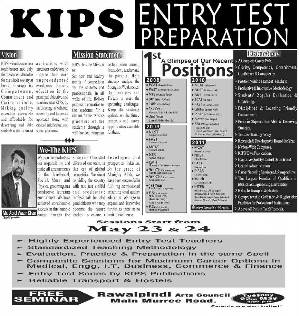 KIPS Entry Test 2012 Preparation