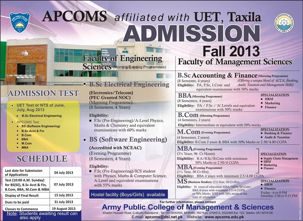 APCOMS 2013 Admissions