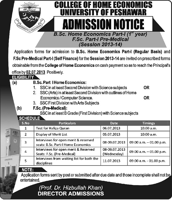 Peshawar University Offers BSc Home Economics Admissions