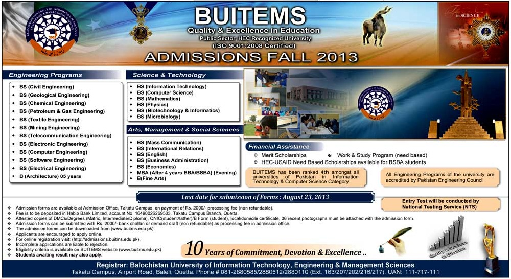 BUITEMS University Balochistan Admission 2013 Fall