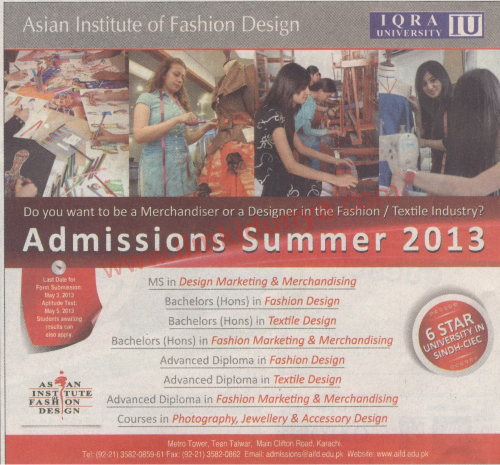 Iqra University Admission Opens For Bs In Fashion Design Advance Diploma In Fashion Designing Ms Design Marketing