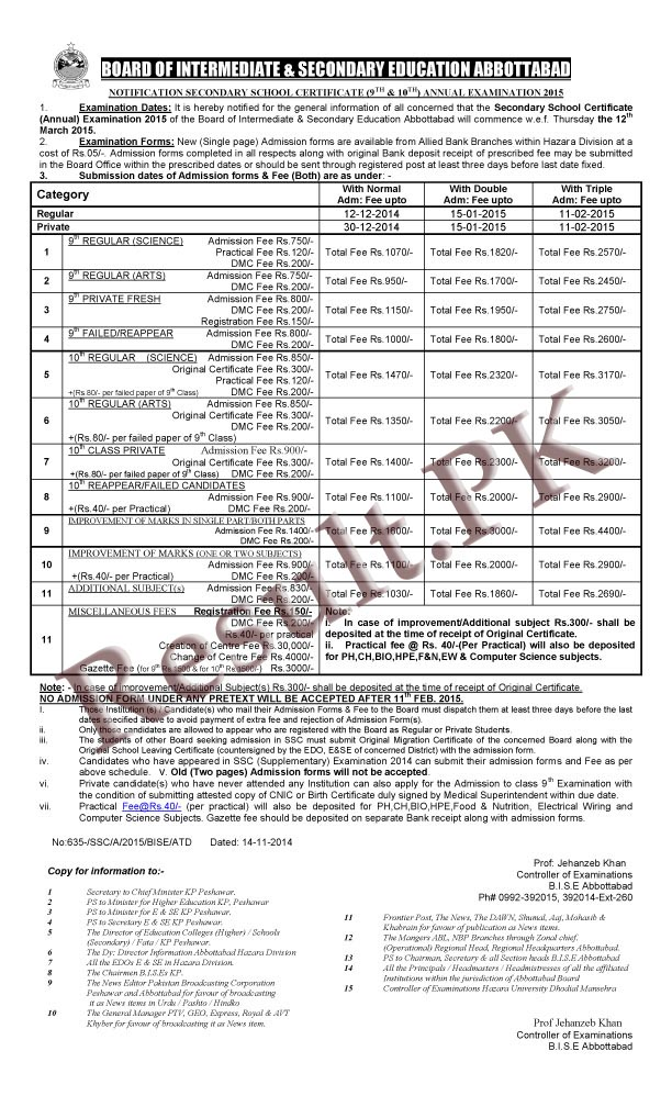 BISE Abbottabad Board Matric Annual Exams 2014 Schedule