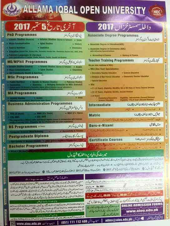 AIOU Starts Autumn 2017 Admissions from 1st August