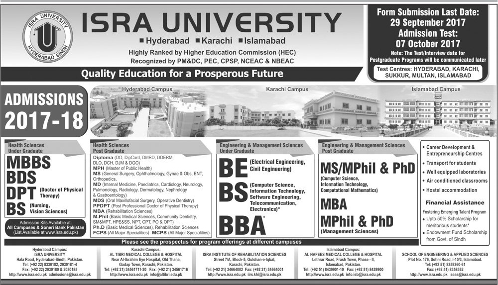 ISRA University MBBS, BDS Admissions 2017
