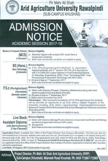 Pir Meher Ali Shah Arid Agri University