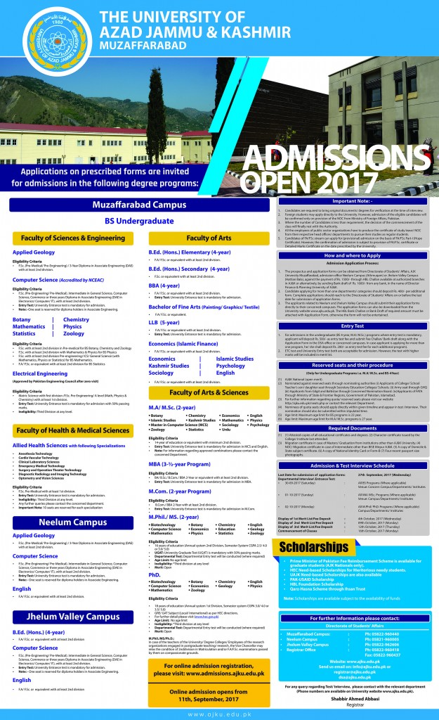 AJKU Admissions 2017
