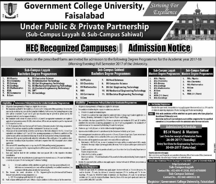 GCU Faisalabad Admissions 2017-18