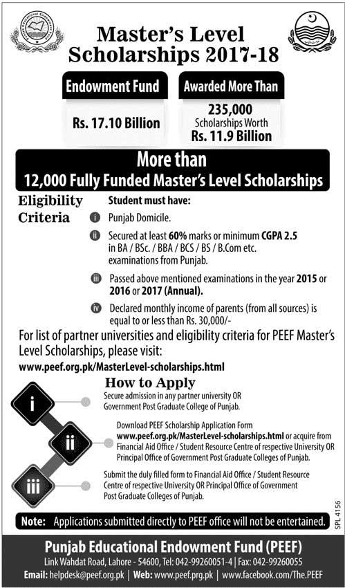 PEEF Master Scholarships 2017-18