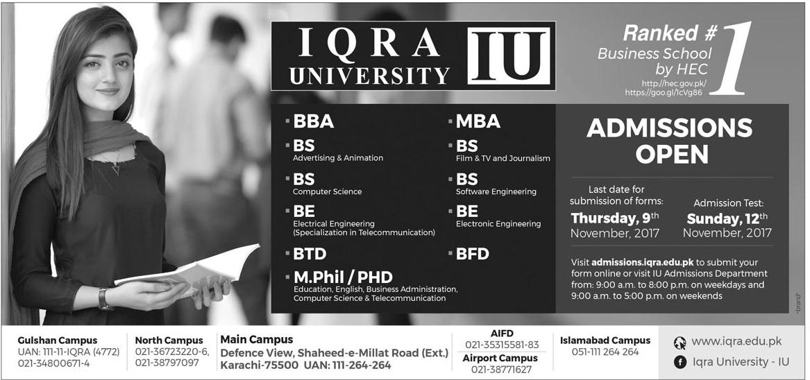 Iqra University Admissions 2017-18