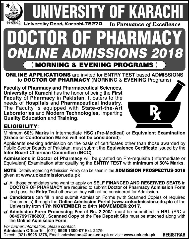UoK PharmD Online Admission 2018