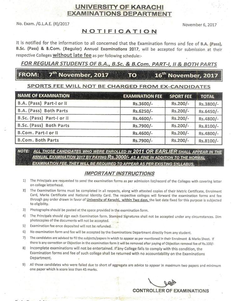 UoK BA, BSc and B.Com Annual Exams Schedule 2017