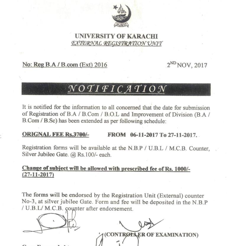 UoK BA, B.Com Annual Exams Schedule 2017