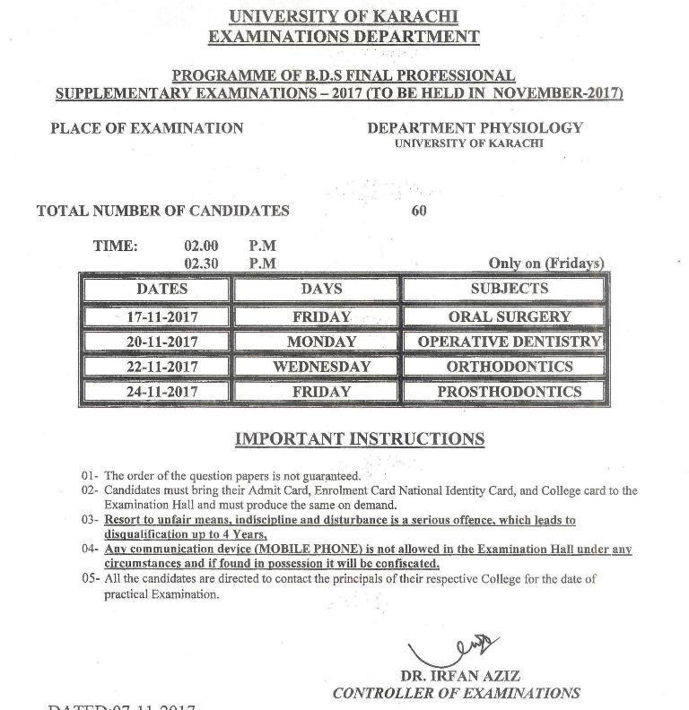 UoK BDS Supply Exams Schedule 2017