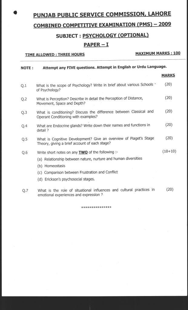 Psychology paper 2009 graded homework debate