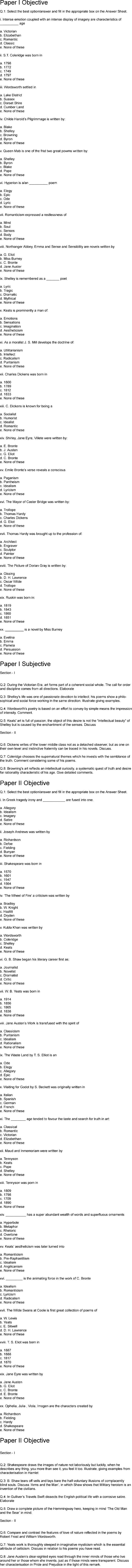 English Literature CSS Past Papers 2012