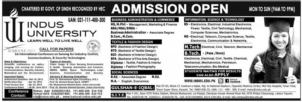 Indus University Karachi Offers Admission 2013