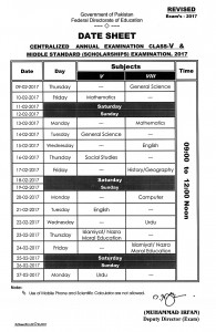 FDE 5th & 8th Class Date Sheet 2017 Scholarship