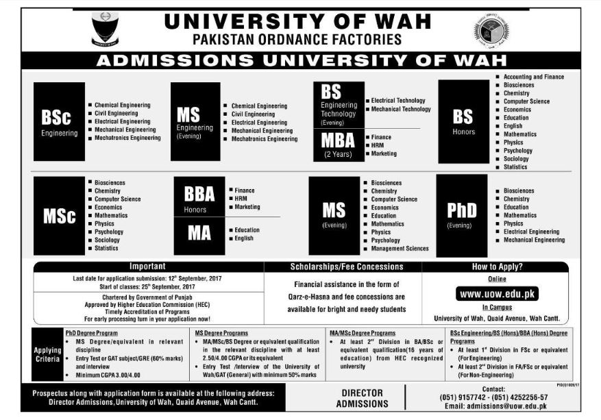 Wah Cantt University Admission 2017