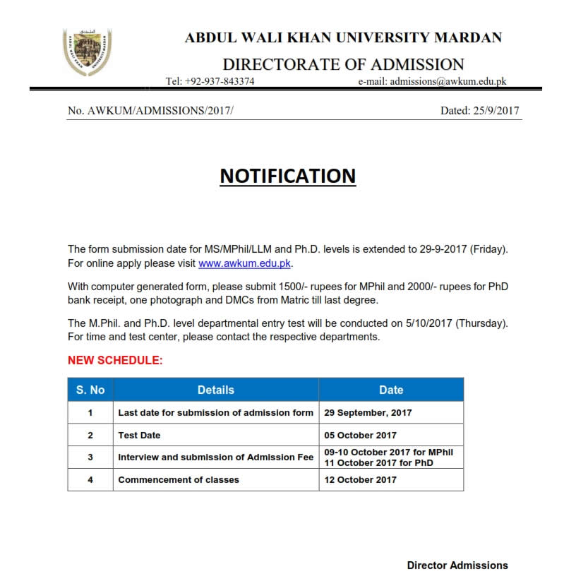 AWKU Admissions Schedule 2017
