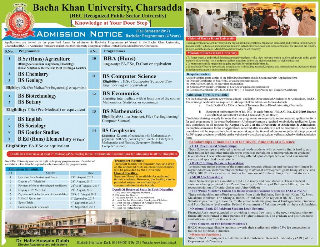 BKU Charsada Admissions 2017