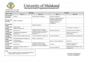 malakand-university-supllementry-exams-ba-bsc-datesheet
